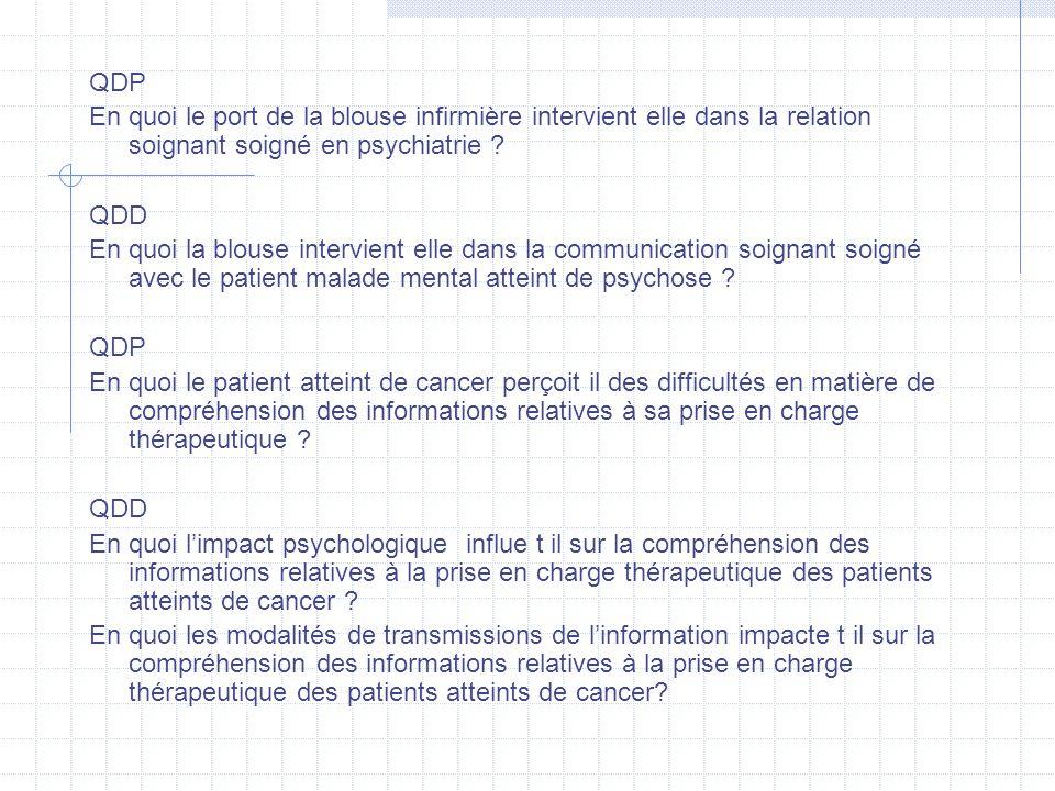 QDP En quoi le port de la blouse infirmière intervient elle dans la relation soignant soigné en psychiatrie