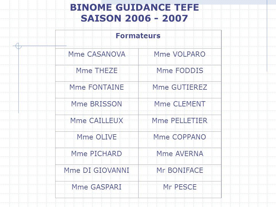 BINOME GUIDANCE TEFE SAISON 2006 - 2007