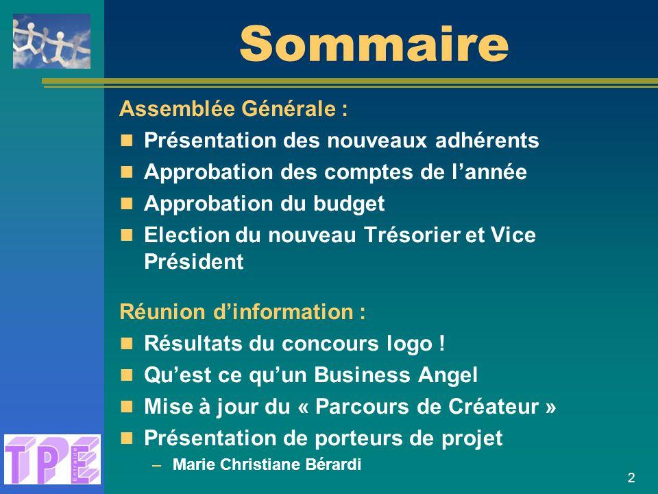 Sommaire Assemblée Générale : Présentation des nouveaux adhérents