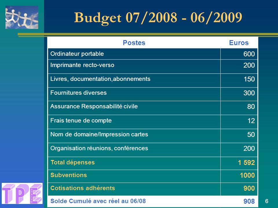 Budget 07/2008 - 06/2009 Postes Euros 600 200 150 300 80 12 50 1 592