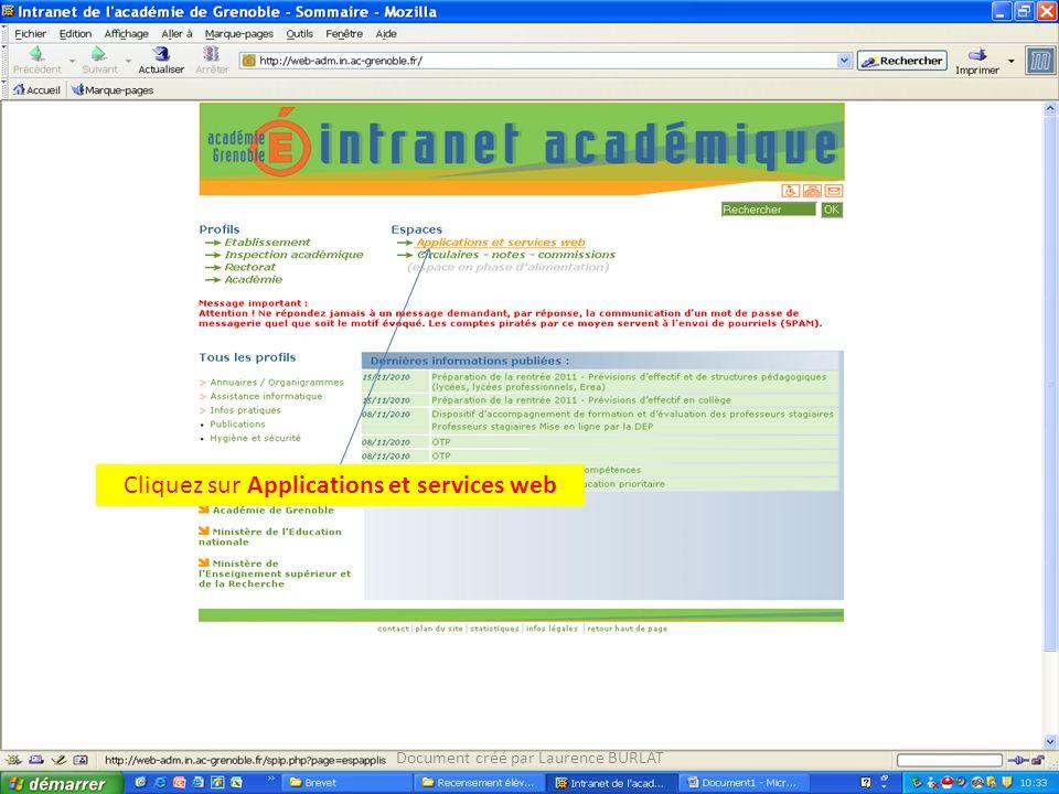 Cliquez sur Applications et services web