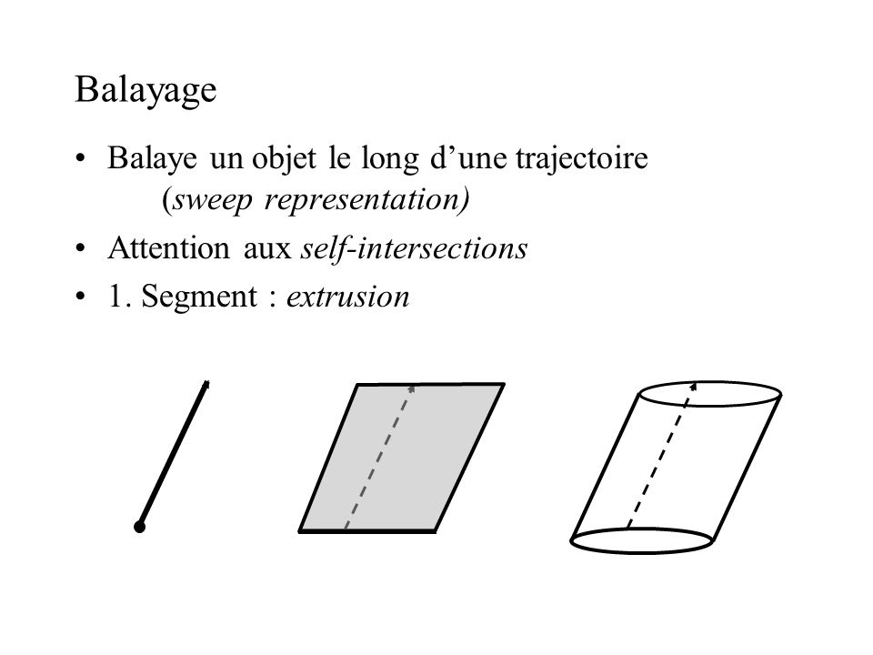 Balayage Balaye un objet le long d'une trajectoire (sweep representation) Attention aux self-intersections.