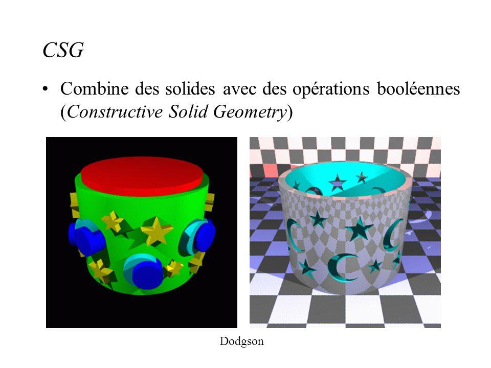 CSG Combine des solides avec des opérations booléennes (Constructive Solid Geometry) Dodgson