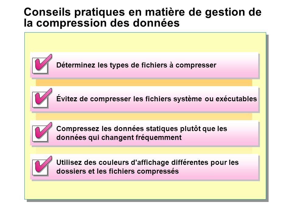 Conseils pratiques en matière de gestion de la compression des données