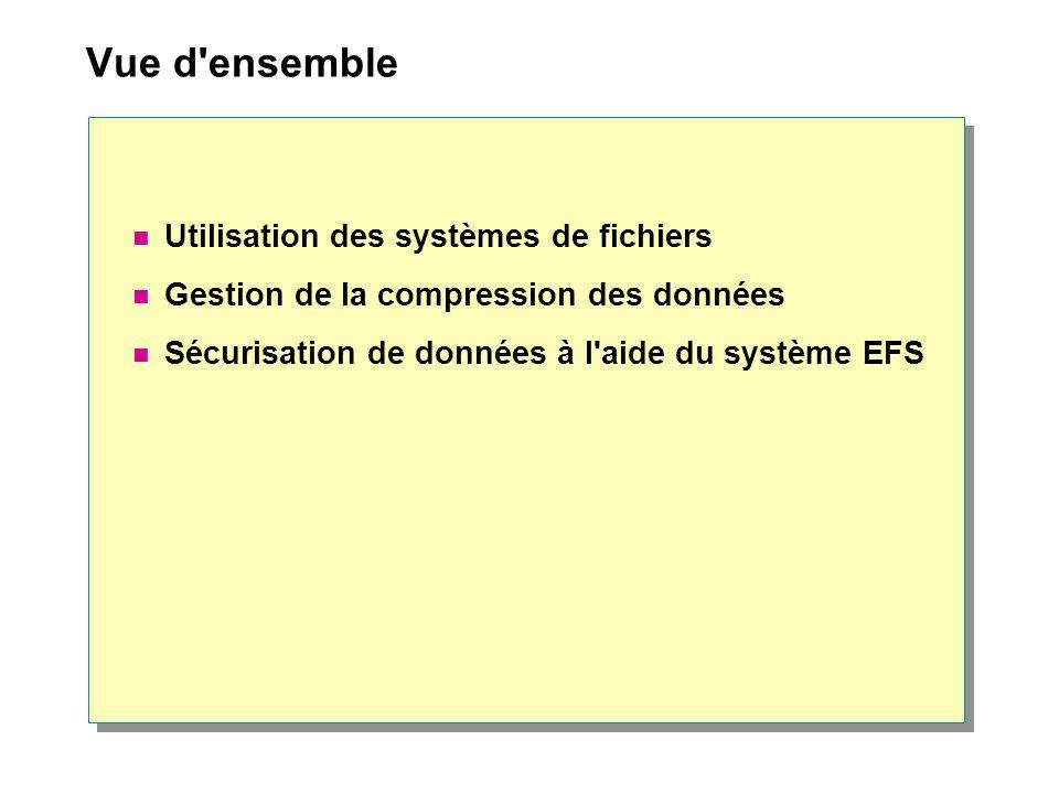 Vue d ensemble Utilisation des systèmes de fichiers