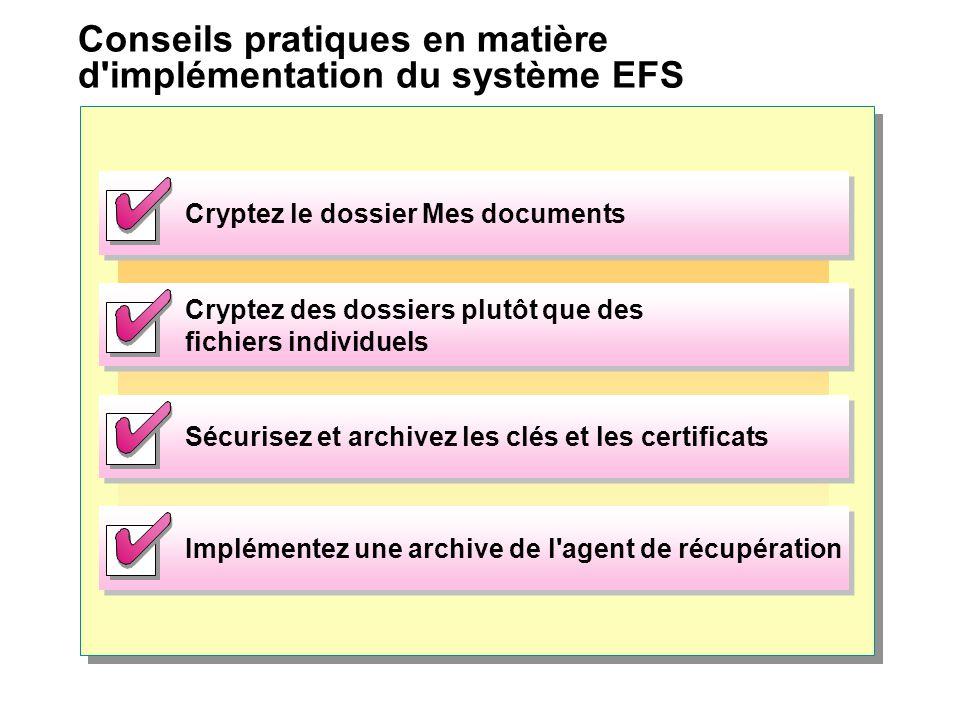 Conseils pratiques en matière d implémentation du système EFS