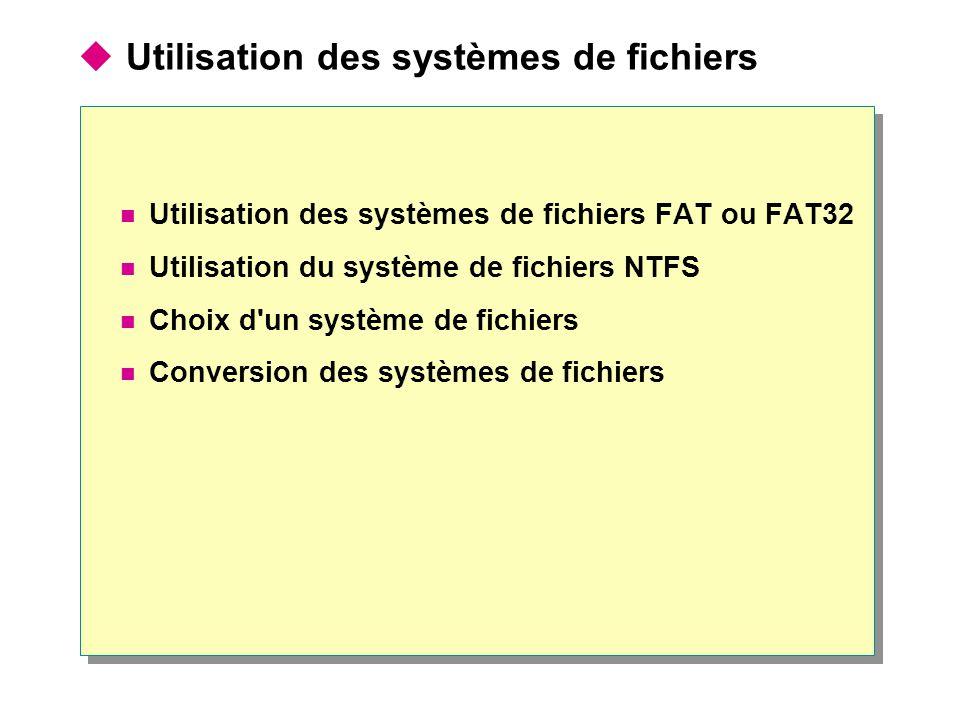 Utilisation des systèmes de fichiers