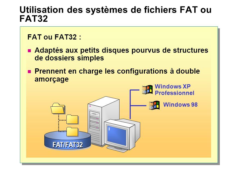 Utilisation des systèmes de fichiers FAT ou FAT32