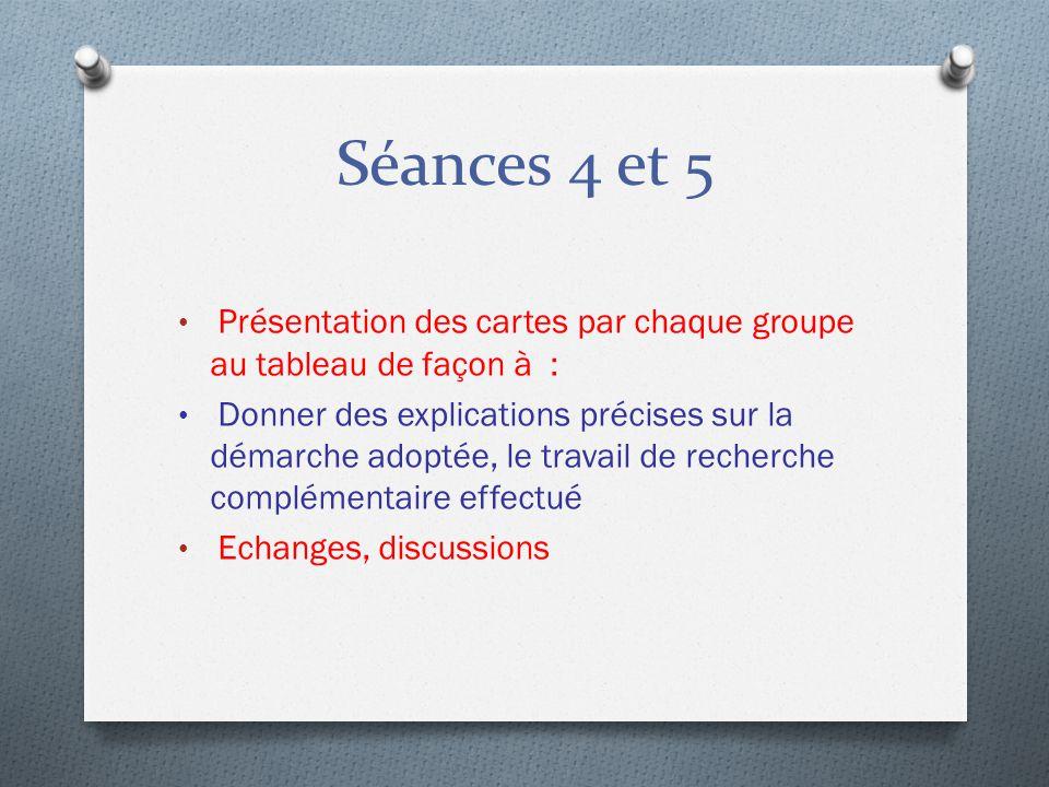 Séances 4 et 5 Présentation des cartes par chaque groupe au tableau de façon à :