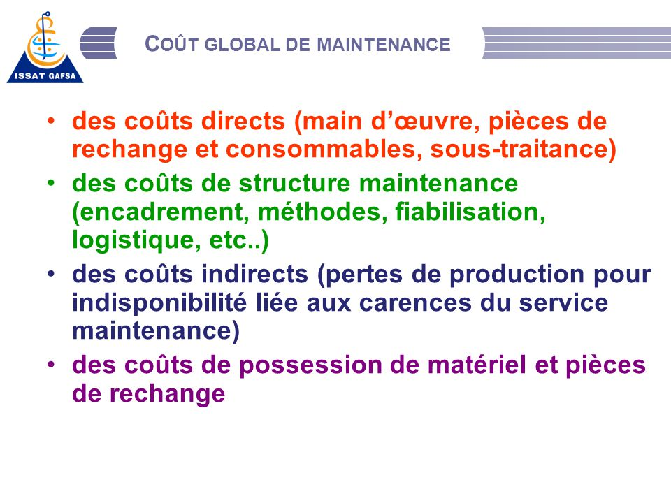 La fonction maintenance ppt video online t l charger for Cout main d oeuvre batiment