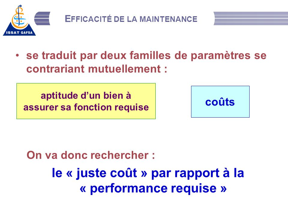 Efficacité de la maintenance
