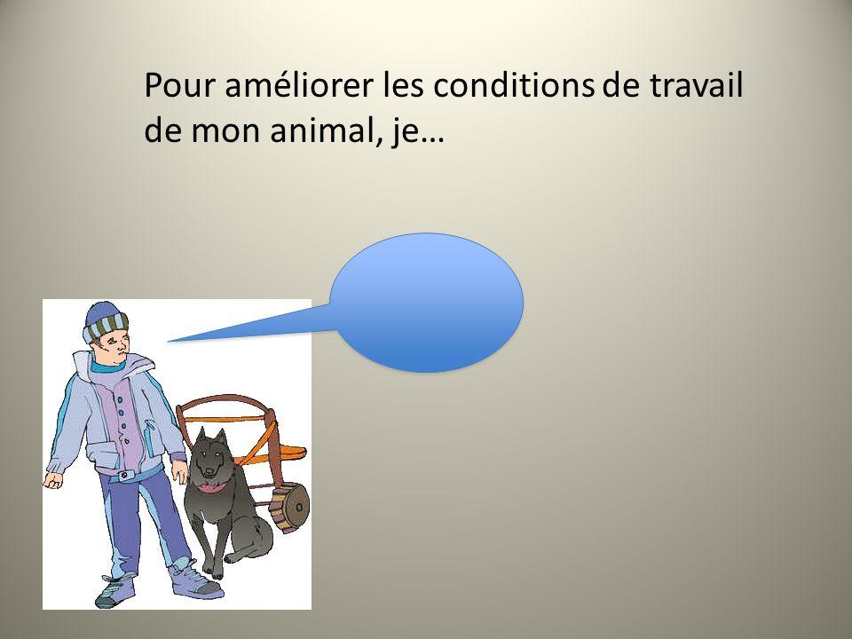 Pour améliorer les conditions de travail de mon animal, je…