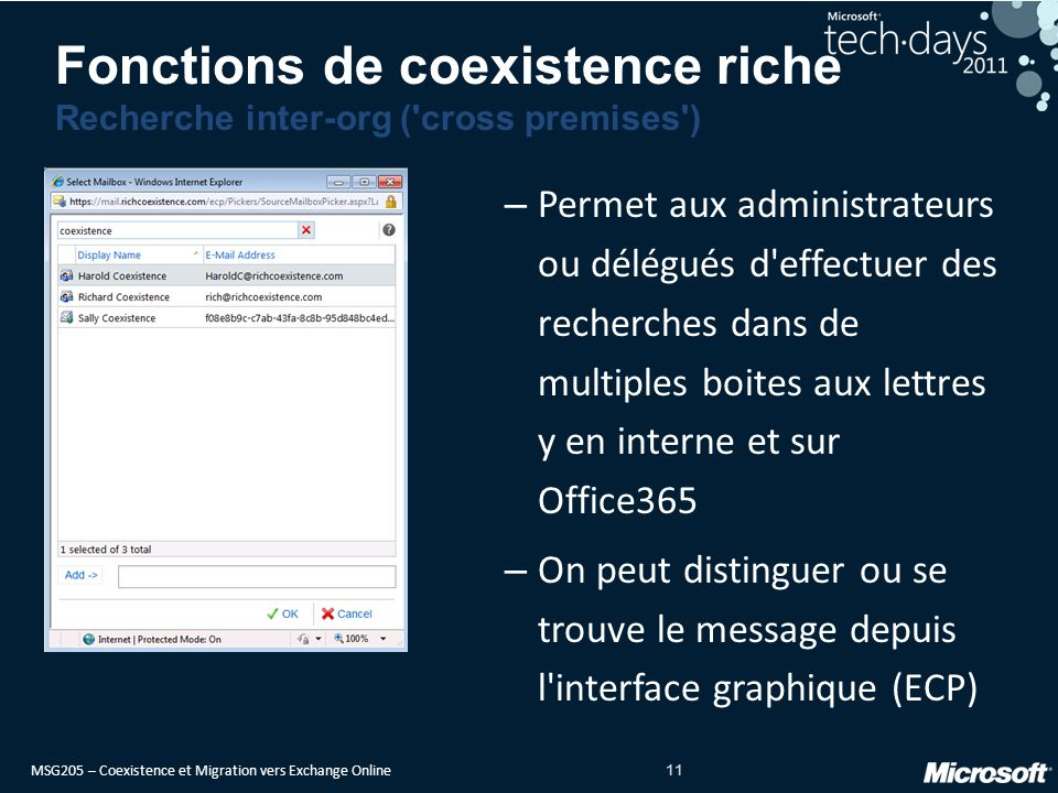 Fonctions de coexistence riche Recherche inter-org ( cross premises )