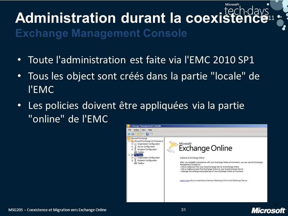 Administration durant la coexistence Exchange Management Console