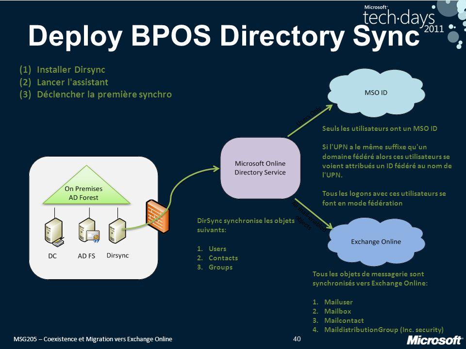 Deploy BPOS Directory Sync