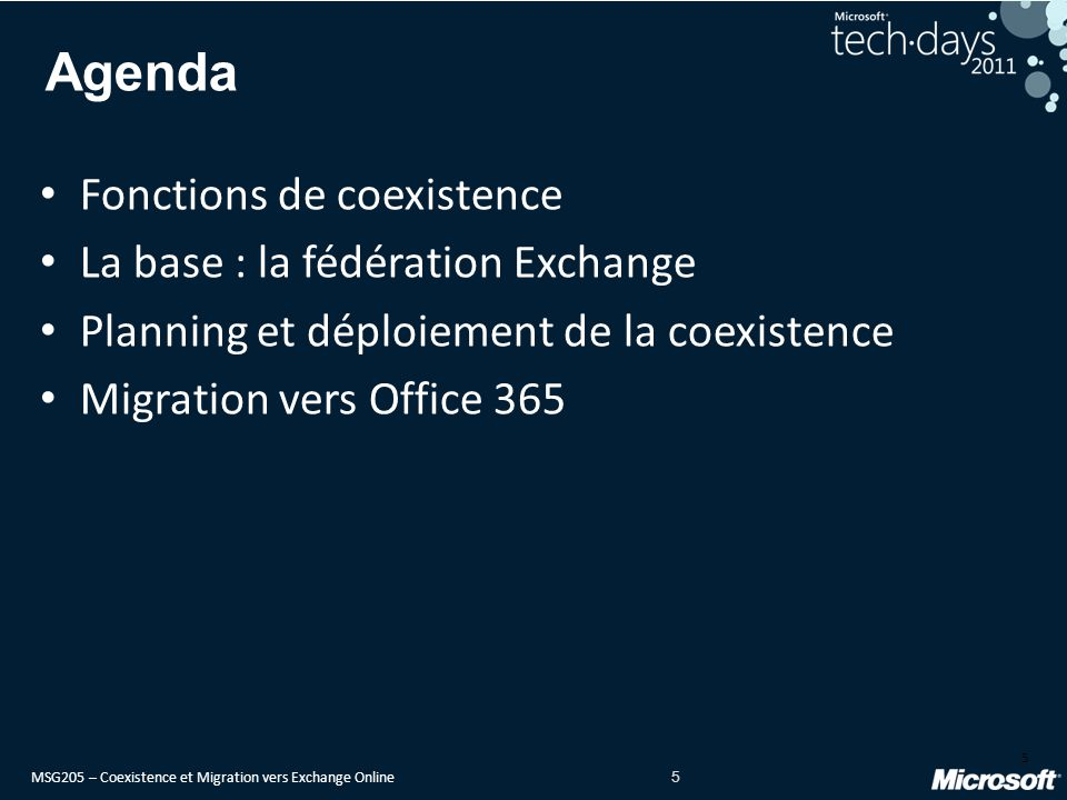 Agenda Fonctions de coexistence La base : la fédération Exchange