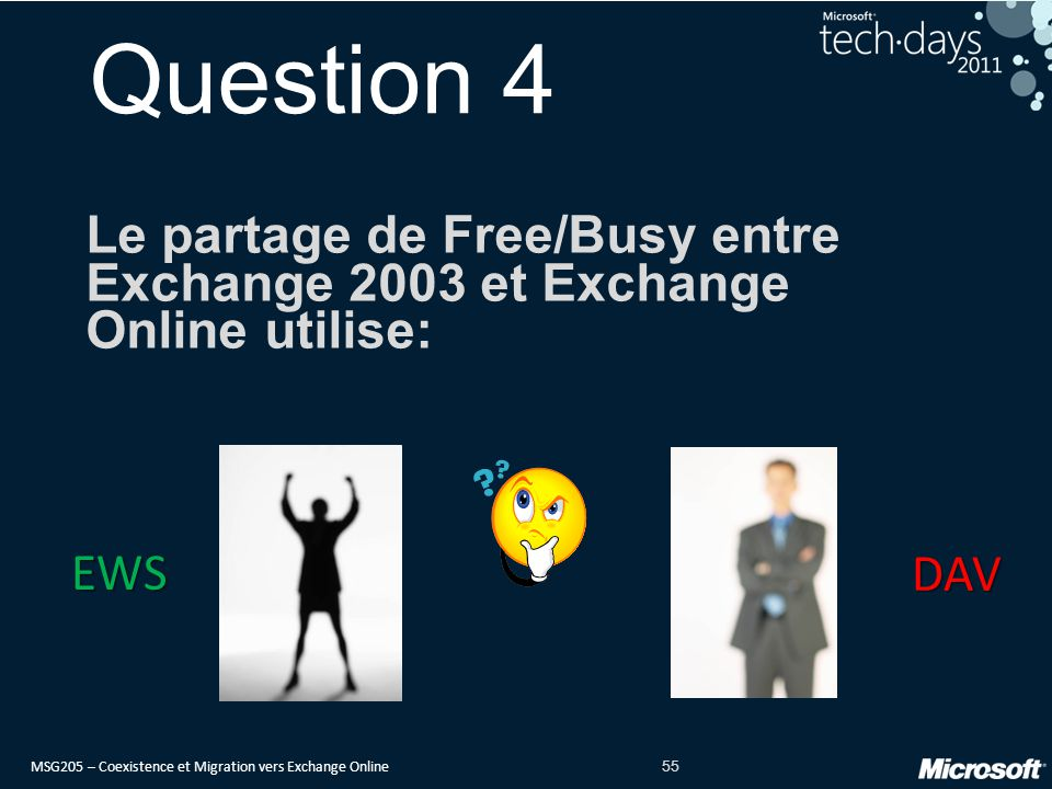 Question 4 Le partage de Free/Busy entre Exchange 2003 et Exchange Online utilise: EWS DAV date