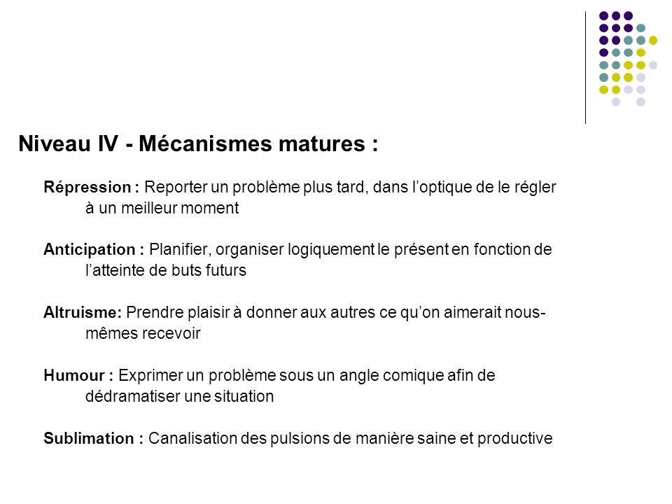 Niveau IV - Mécanismes matures :