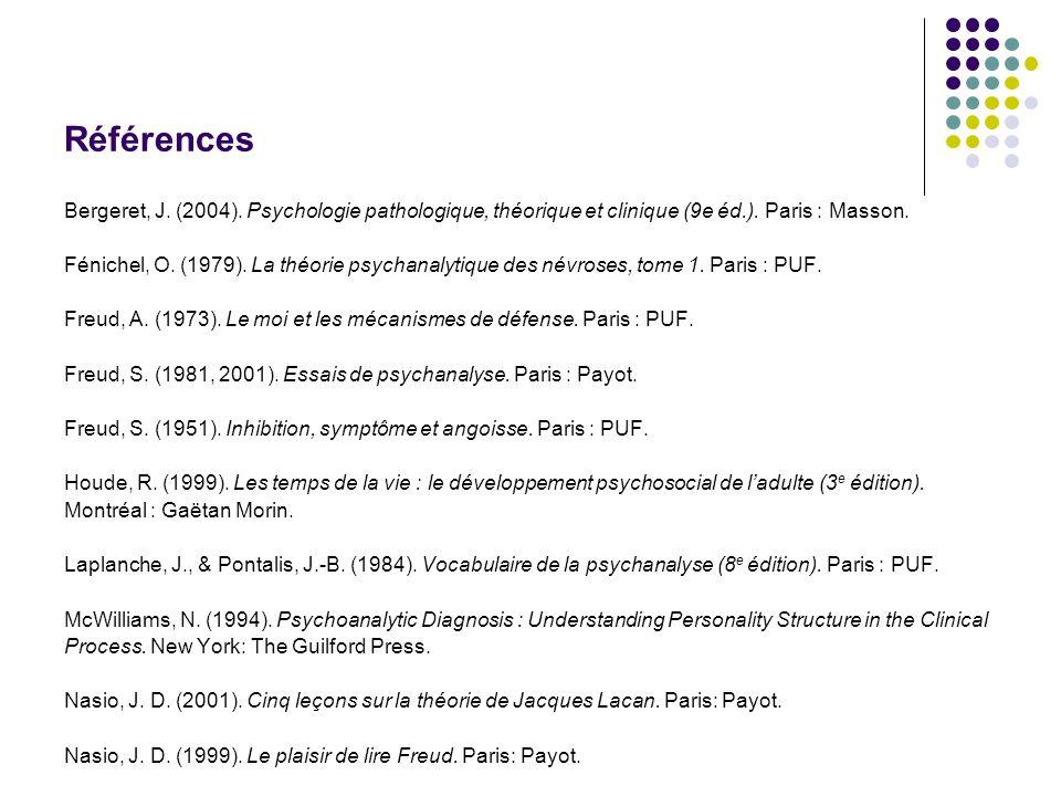 Références Bergeret, J. (2004). Psychologie pathologique, théorique et clinique (9e éd.). Paris : Masson.