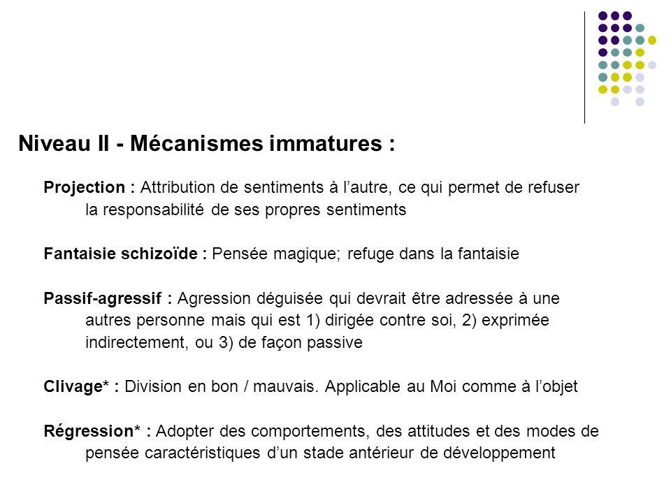 Niveau II - Mécanismes immatures :