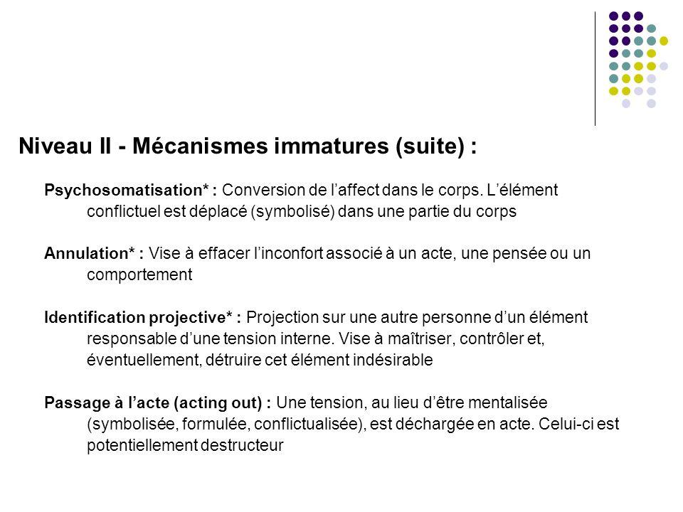 Niveau II - Mécanismes immatures (suite) :