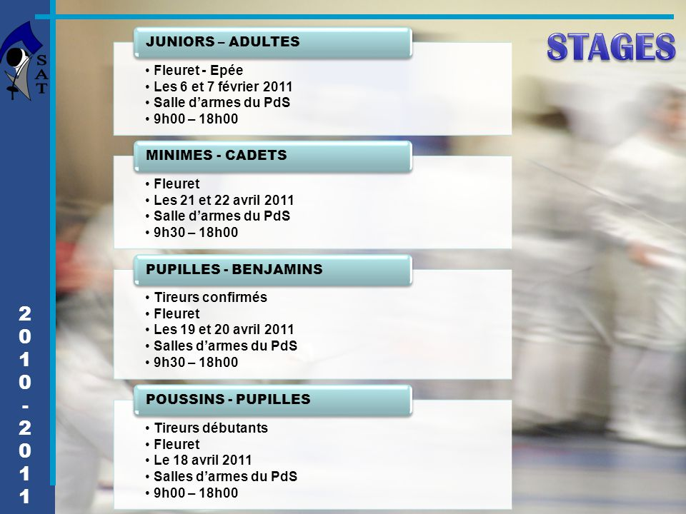 STAGES 2 1 - JUNIORS – ADULTES Fleuret - Epée Les 6 et 7 février 2011