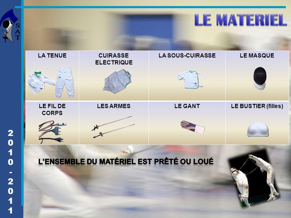 LE MATERIEL 2 1 - L'ensemble du matériel est prêté ou loué LA TENUE