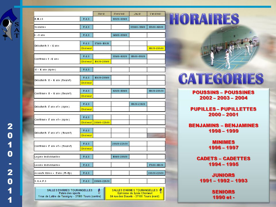 HORAIRES CATEGORIES 2 1 - POUSSINS – POUSSINES 2002 – 2003 – 2004