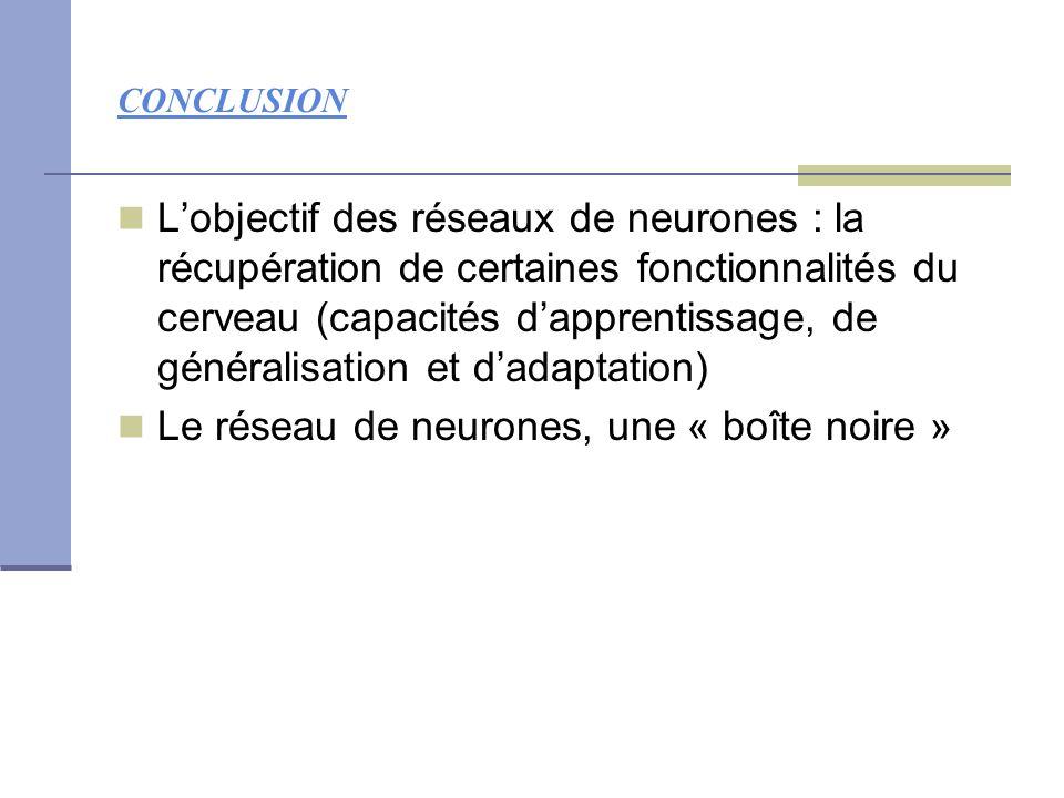 Le réseau de neurones, une « boîte noire »