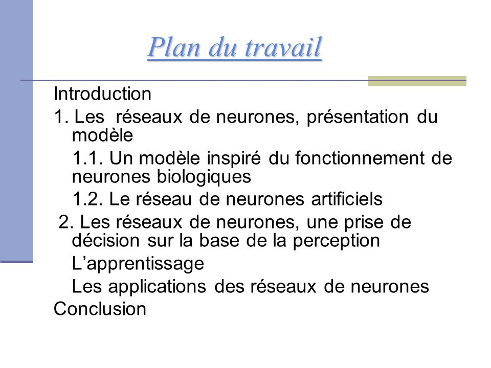 Plan du travail Introduction