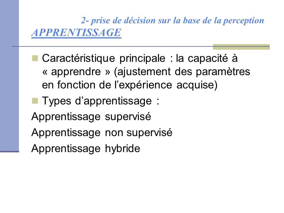 2- prise de décision sur la base de la perception APPRENTISSAGE