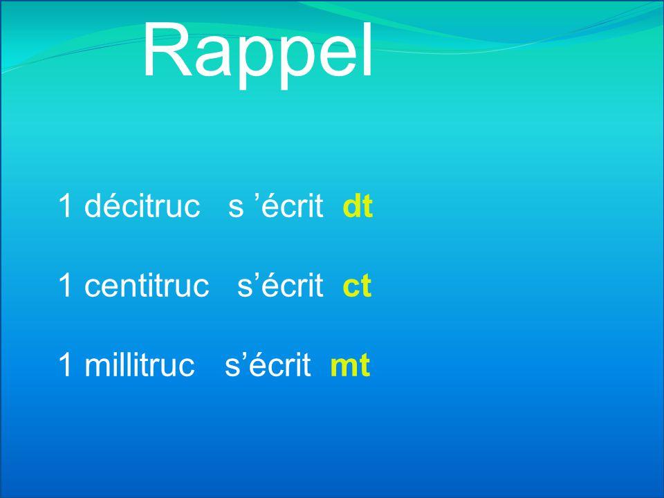 Rappel 1 décitruc s 'écrit dt 1 centitruc s'écrit ct