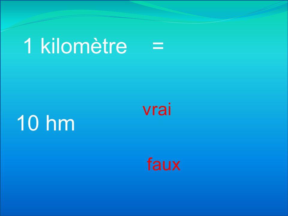 1 kilomètre = vrai 10 hm faux
