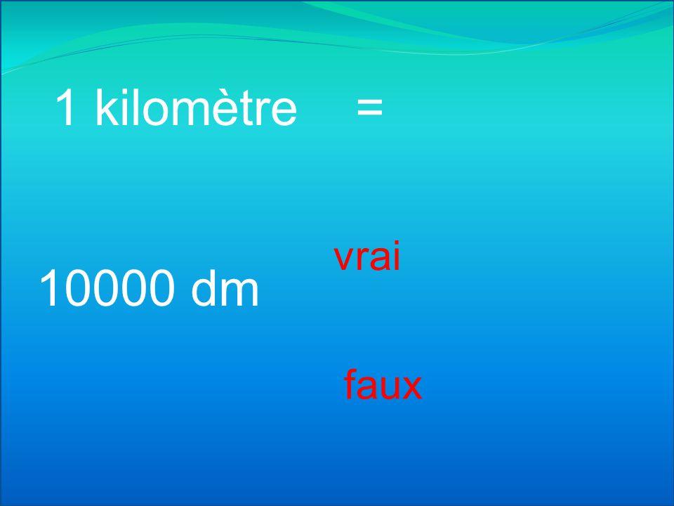 1 kilomètre = vrai 10000 dm faux
