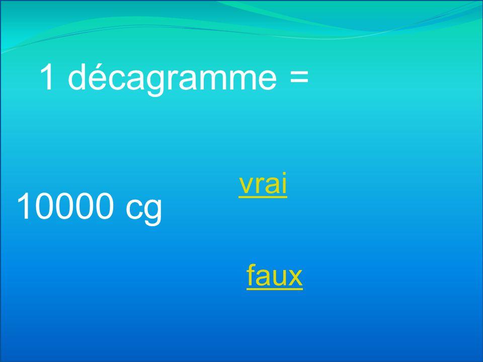 1 décagramme = vrai 10000 cg faux