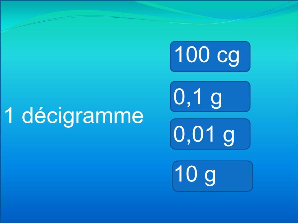 100 cg 0,1 g 1 décigramme 0,01 g 10 g