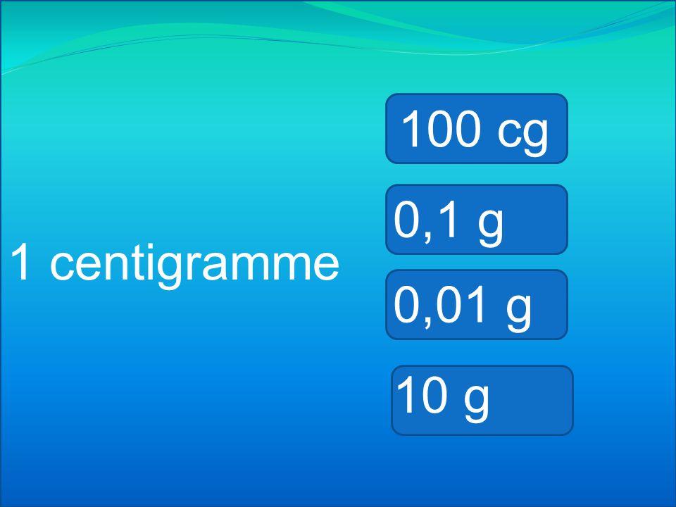 100 cg 0,1 g 1 centigramme 0,01 g 10 g