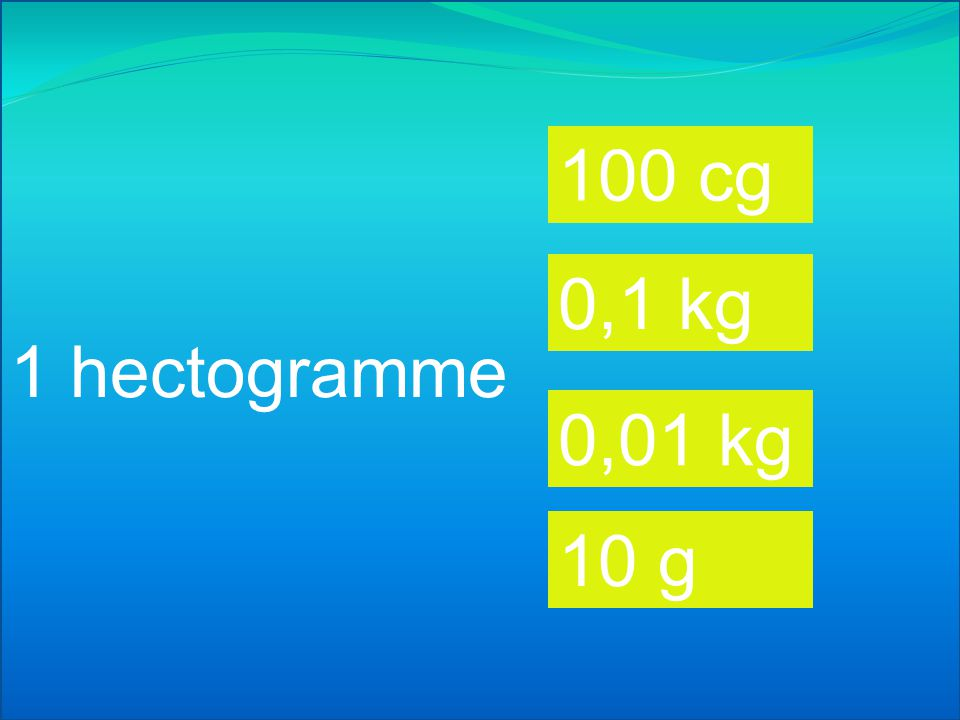 100 cg 0,1 kg 1 hectogramme 0,01 kg 10 g