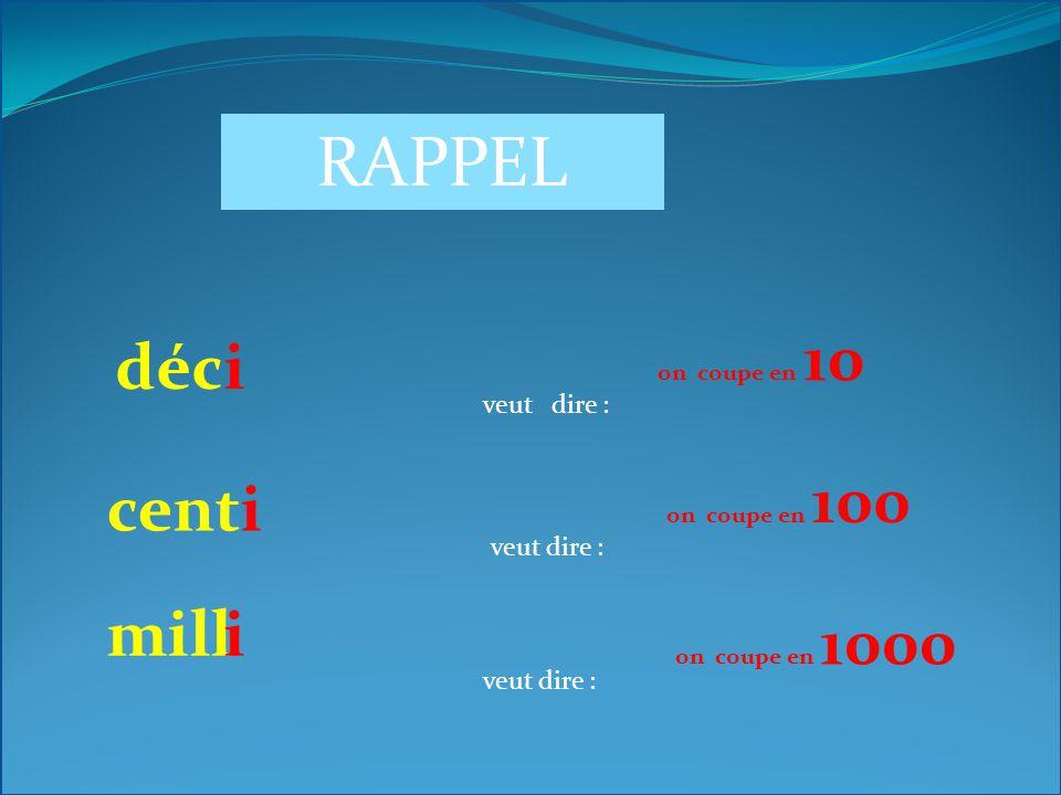 RAPPEL déc i cent i mill i veut dire : veut dire : veut dire :