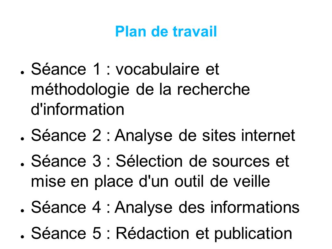 Séance 1 : vocabulaire et méthodologie de la recherche d information