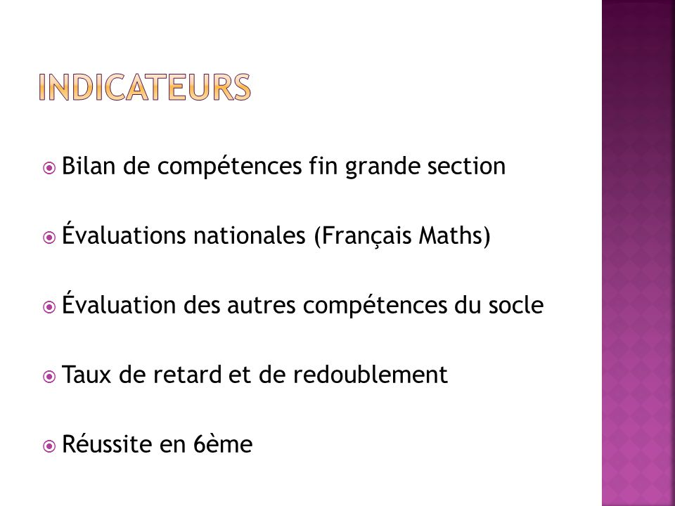 Indicateurs Bilan de compétences fin grande section