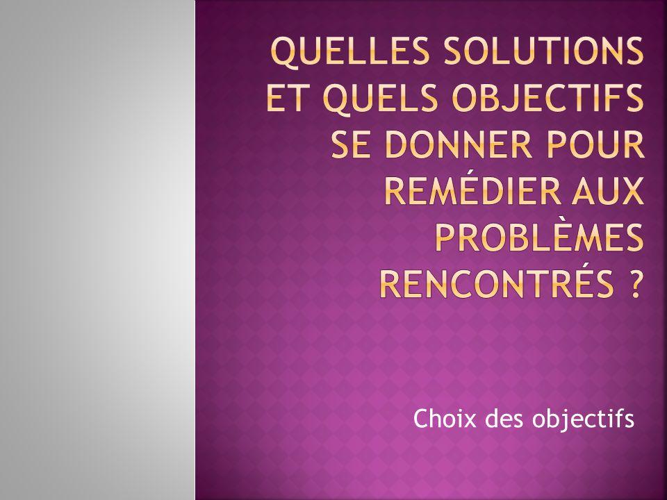 Quelles solutions et quels objectifs se donner pour remédier aux problèmes rencontrés