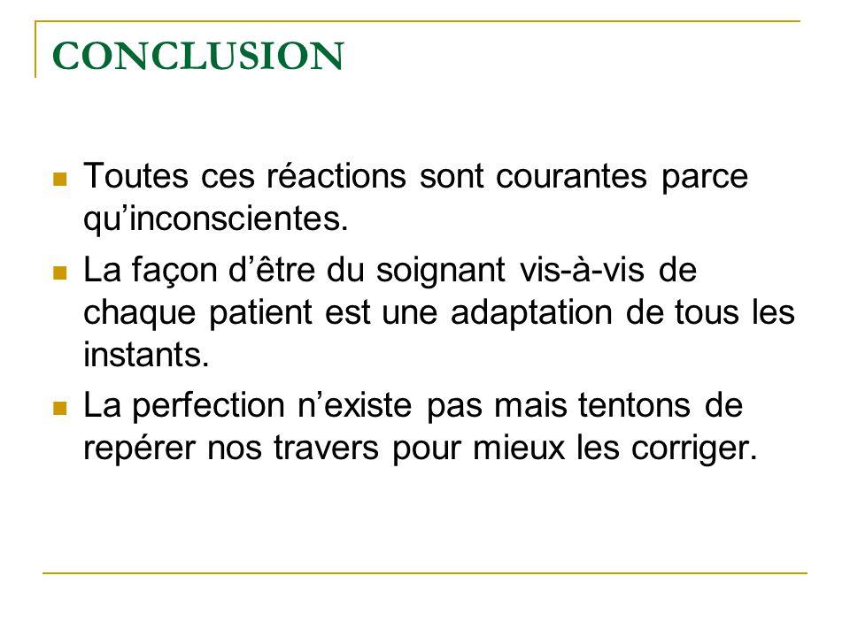 CONCLUSION Toutes ces réactions sont courantes parce qu'inconscientes.