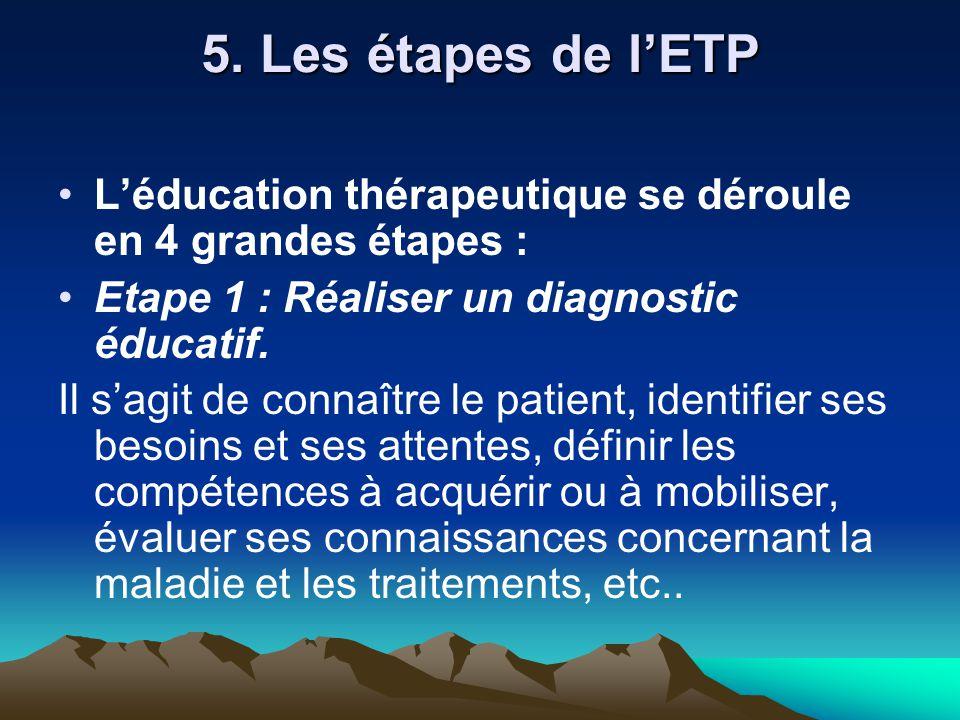 5. Les étapes de l'ETP L'éducation thérapeutique se déroule en 4 grandes étapes : Etape 1 : Réaliser un diagnostic éducatif.