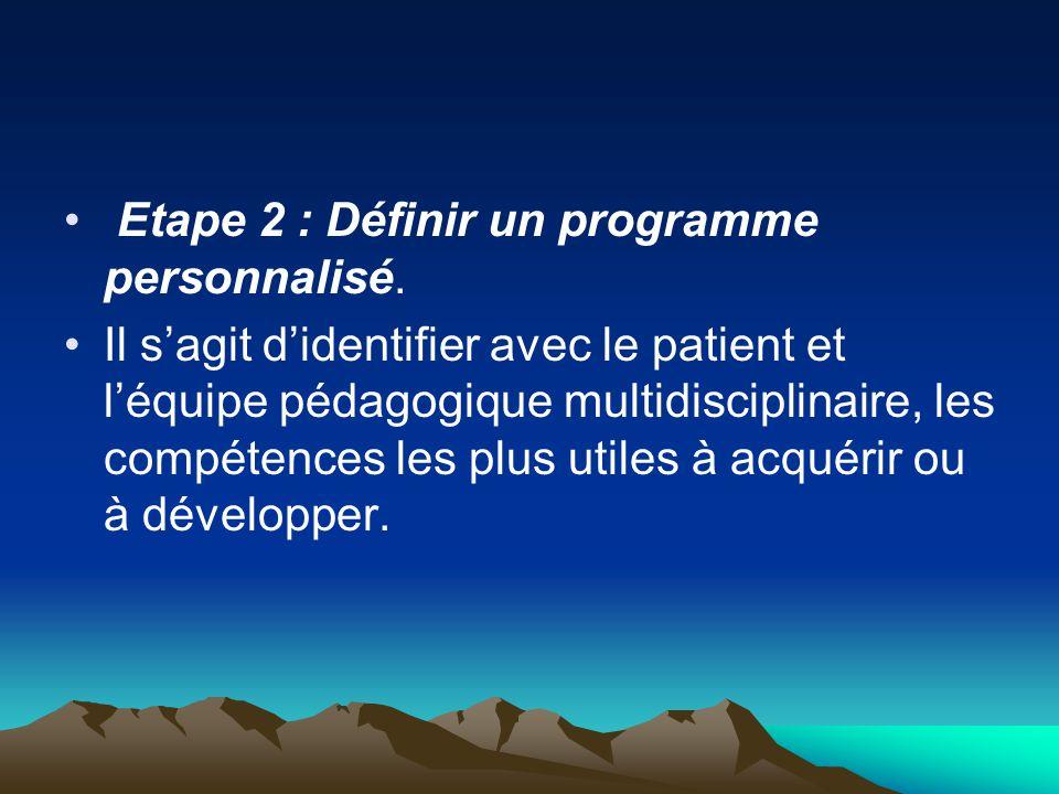 Etape 2 : Définir un programme personnalisé.