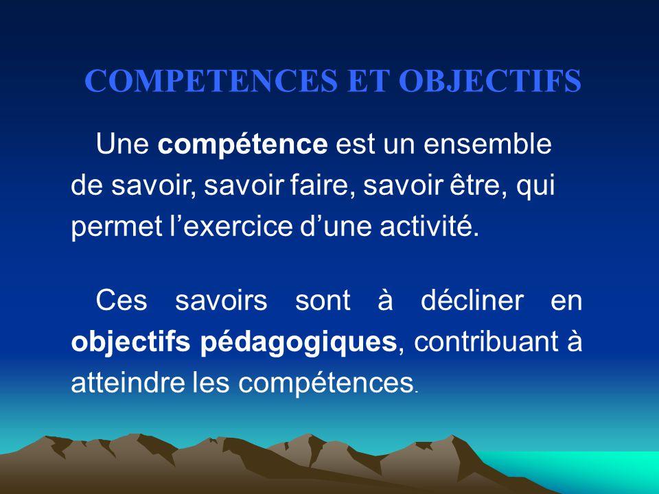 COMPETENCES ET OBJECTIFS