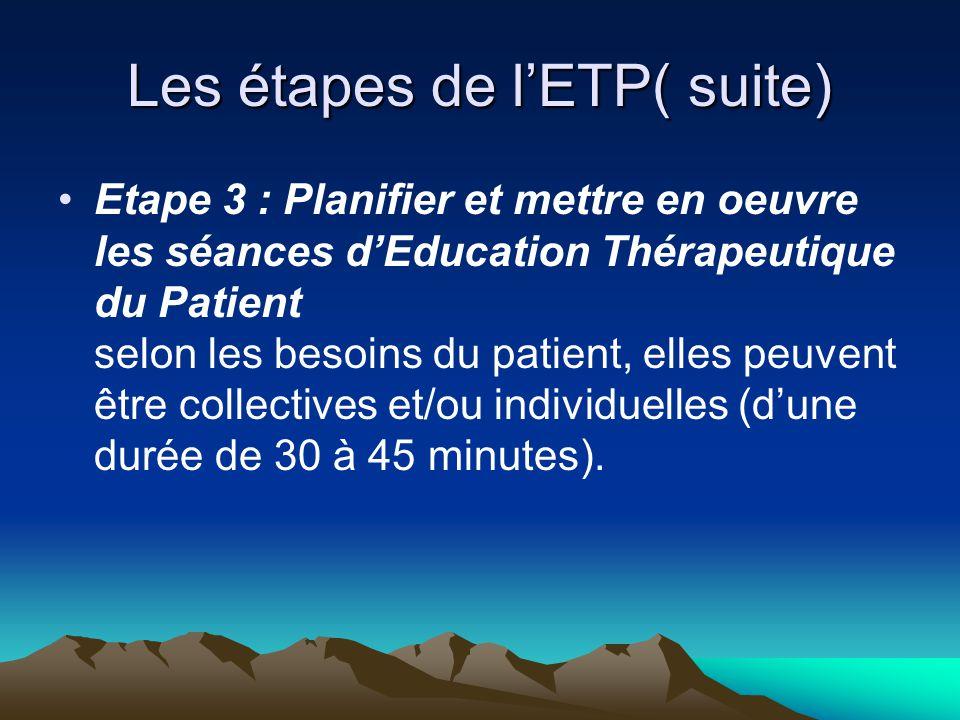 Les étapes de l'ETP( suite)