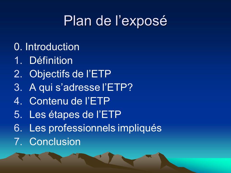 Plan de l'exposé 0. Introduction Définition Objectifs de l'ETP