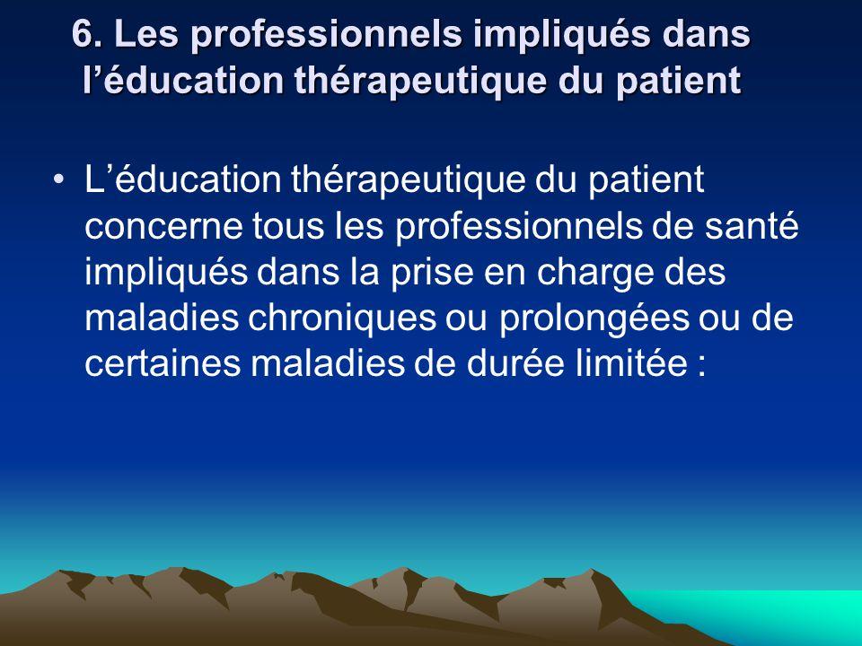 6. Les professionnels impliqués dans l'éducation thérapeutique du patient