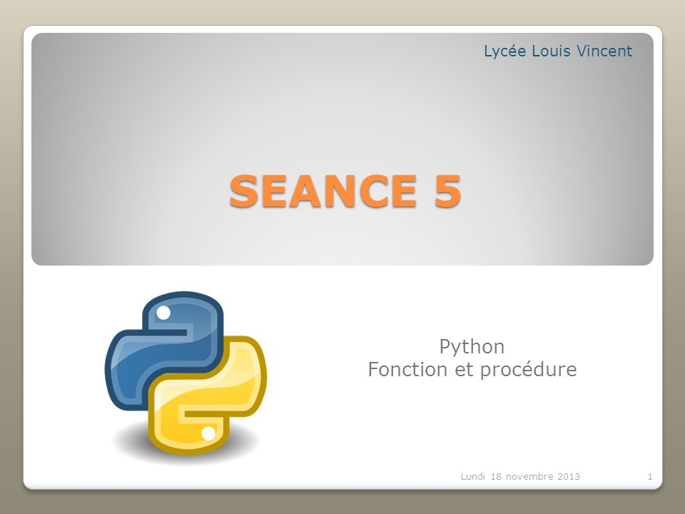 Python Fonction et procédure